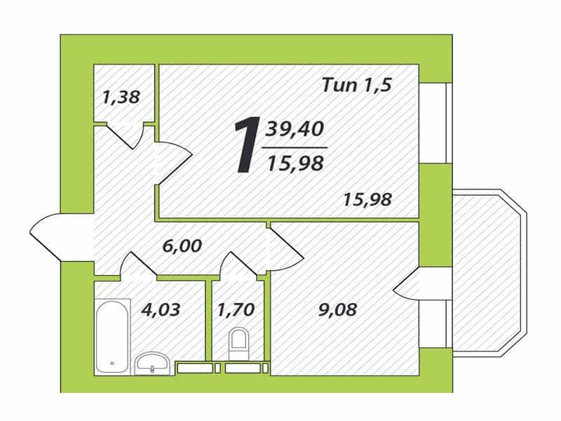 фото - готове рішення для 1-кімнатної квартири