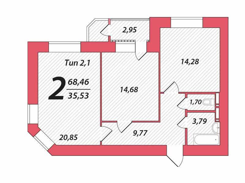 фото - готовое решение для 2-х комнатной квартиры