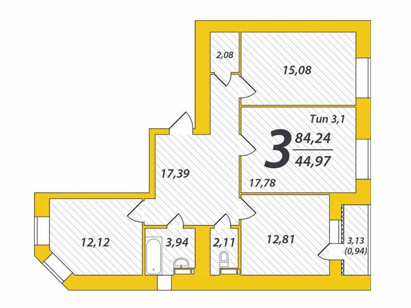 фото - готовое решение для 3-кімн. квартири